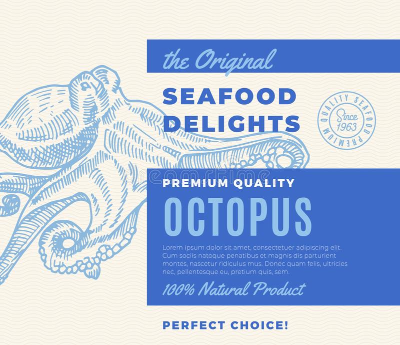 Premium Quality Seafood Delights. Abstract Vector Packaging Design or Label. Modern Typography and Hand Drawn Octopus. Silhouette Background Layout stock illustration