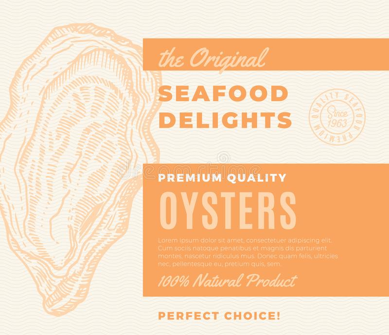 Premium Quality Seafood Delights. Abstract Vector Packaging Design or Label. Modern Typography and Hand Drawn Oyster. Silhouette Background Layout stock illustration