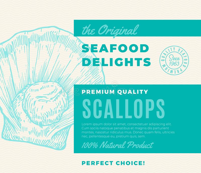 Premium Quality Seafood Delights. Abstract Vector Packaging Design or Label. Modern Typography and Hand Drawn Scallop. Silhouette Background Layout stock illustration