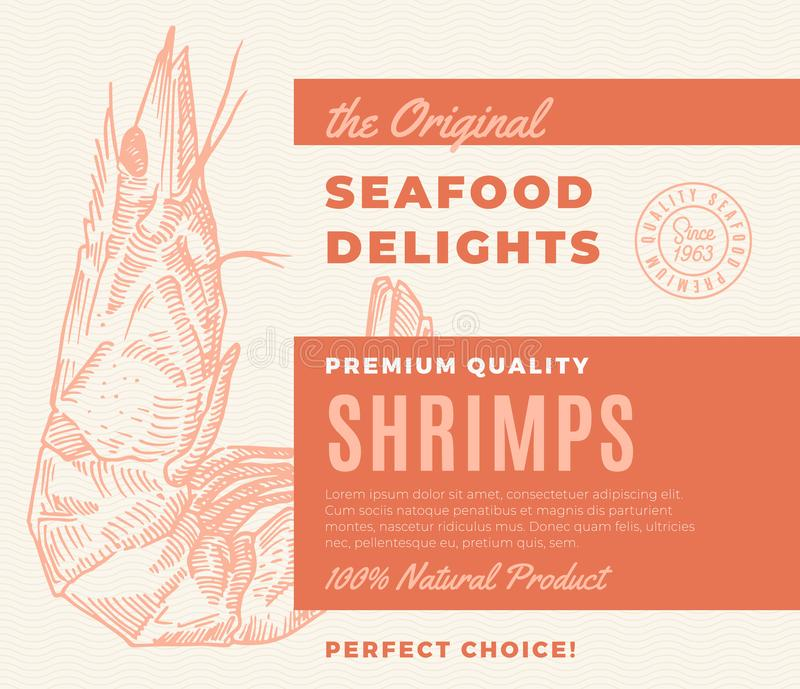 Premium Quality Seafood Delights. Abstract Vector Packaging Design or Label. Modern Typography and Hand Drawn Shrimp or. Prawn Silhouette Background Layout royalty free illustration