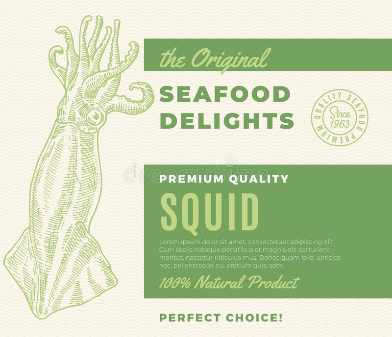 Premium Quality Seafood Delights. Abstract Vector Packaging Design or Label. Modern Typography and Hand Drawn. SquidSilhouette Background Layout vector illustration