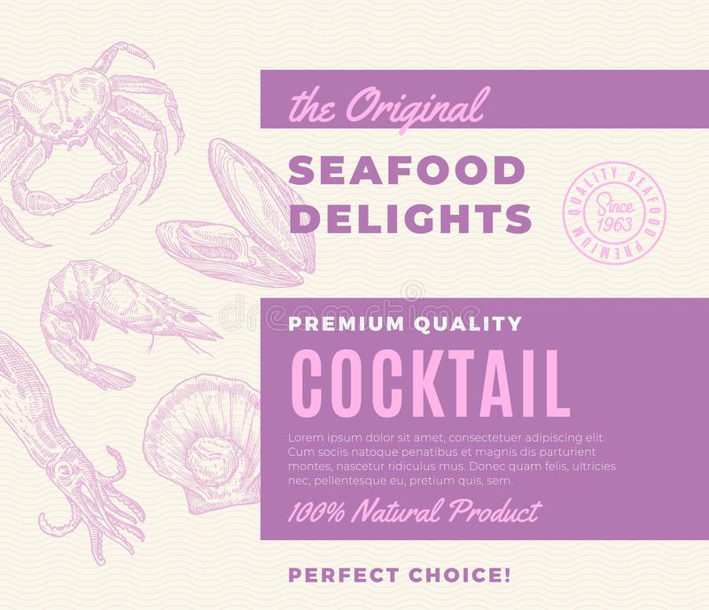 Premium Quality Seafood Delights Cocktail. Abstract Vector Packaging Design or Label. Modern Typography and Hand Drawn. Shrimp, Crab, Scallop, Mussel and Squid stock illustration