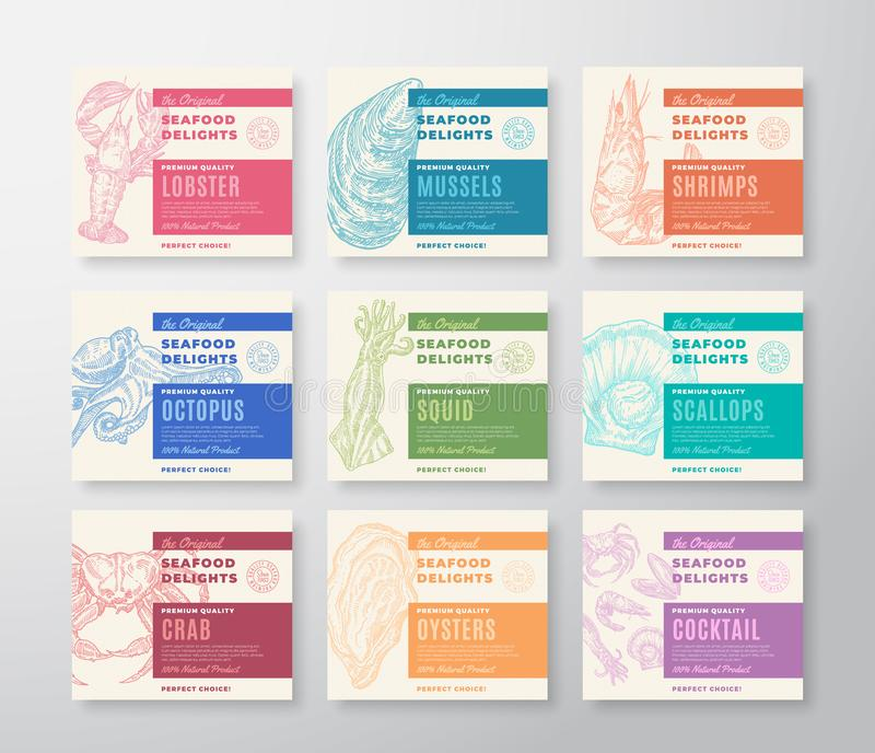 Premium Quality Seafood Labels Set. Abstract Vector Packaging Design. Modern Typography and Hand Drawn Crab, Shrimp stock illustration