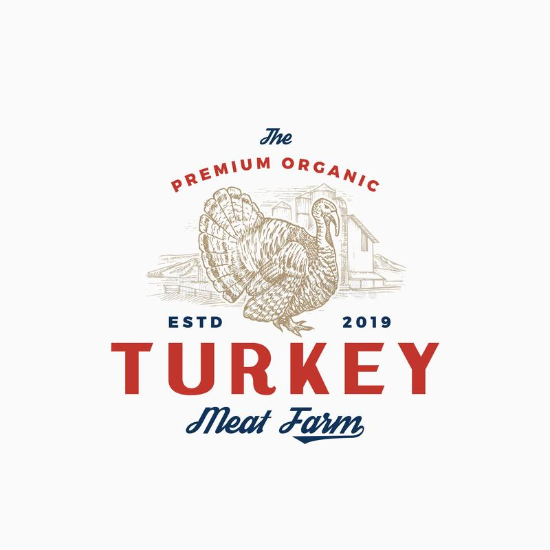 Premium Quality Turkey Farm and Company. Abstract Vector Sign, Symbol or Logo Template. Hand Drawn Bird Sillhouette with royalty free illustration