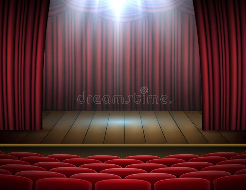 Premium red curtains stage, theater or opera background with spotlight stock photos