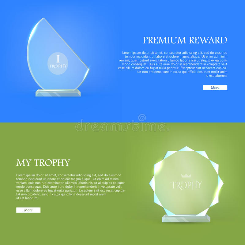 Premium Reward. My Trophy. Triumph Glass Award. Best prize. Set of trophy rewards web banner. Vector illustration in flat style. Success, victory, reward stock illustration