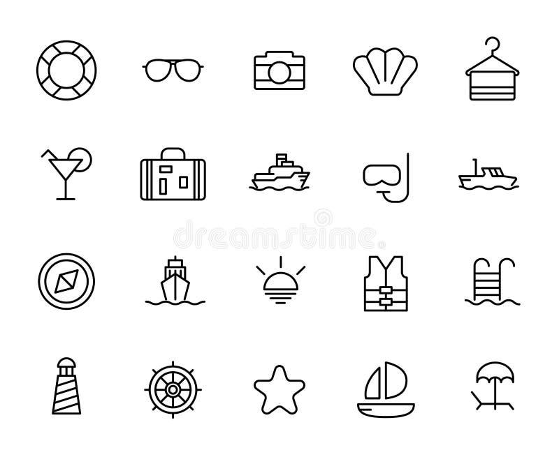Premium set of cruise line icons. stock images