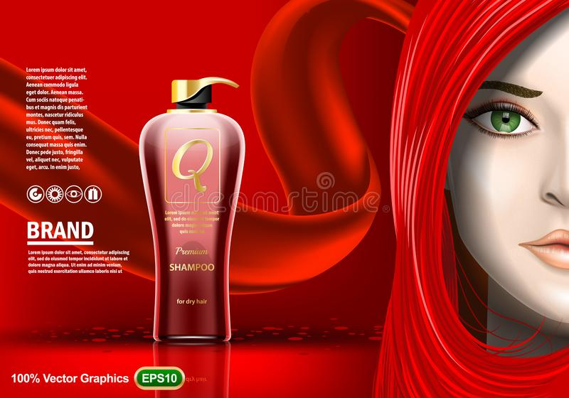 Premium Shampoo ads, with beautiful girl in red. Realistic image template vector illustration