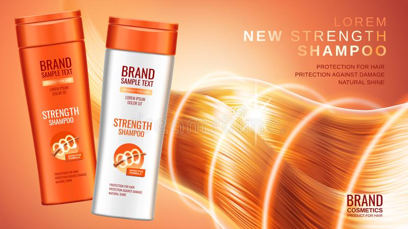 Premium shampoo ads vector illustration