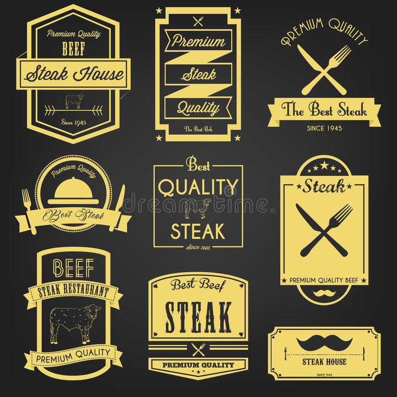 Download Premium Steak Vintage Label Stock Vector - Illustration of meat, grilled: 39510495