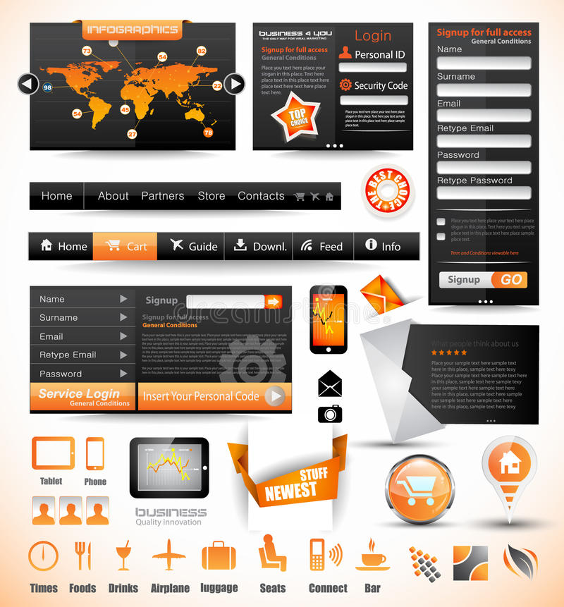 Premium templates and Web stuff master collection: royalty free illustration