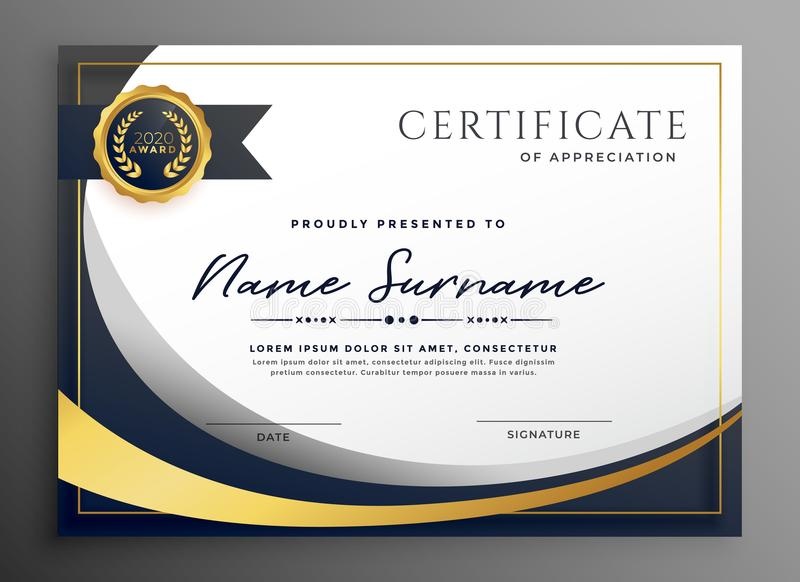 Premium wavy certificate template design stock illustration