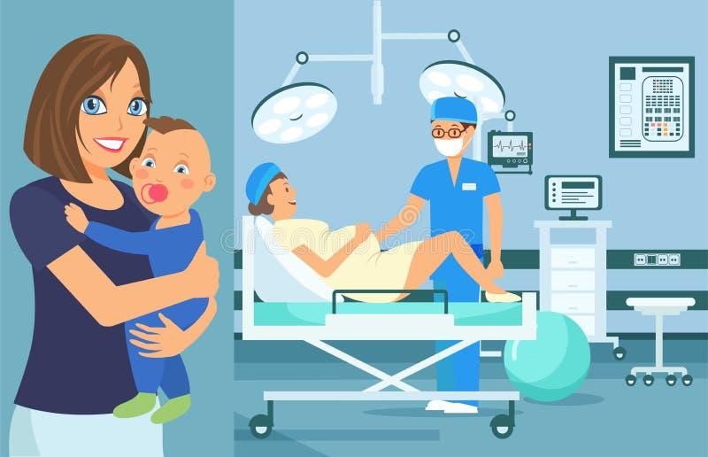 Prenatal Medycznego Checkup Płaska Wektorowa ilustracja ilustracja wektor