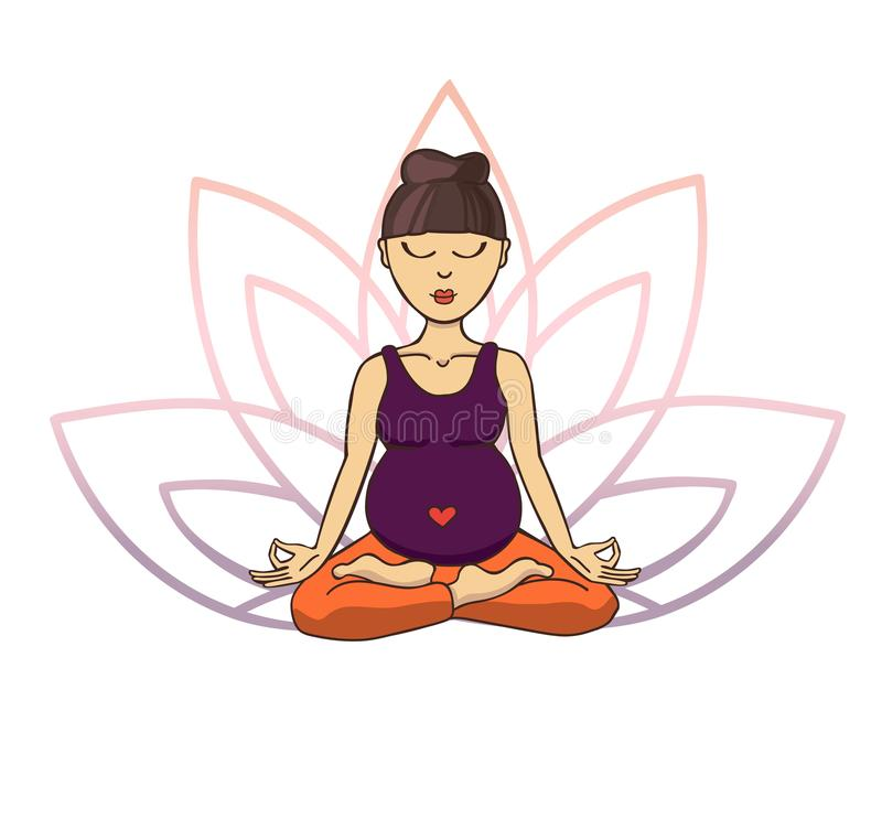 Prenatal yoga. Vector illustration of young cute asian girl meditating in lotus position with flower petals in violet and pink gra vector illustration