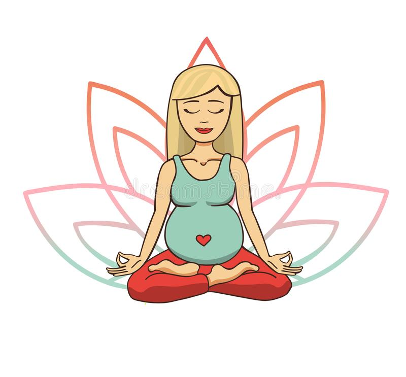 Prenatal yoga. Vector illustration of young cute blonde girl meditating in lotus position with flower petals in pink and blue grad. Ient colors behind. Pregnant royalty free illustration