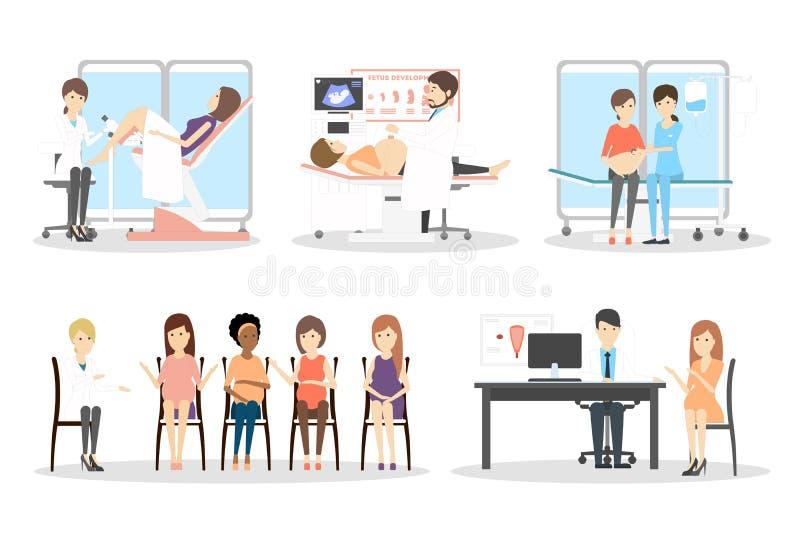 Prenatale kliniekreeks vector illustratie