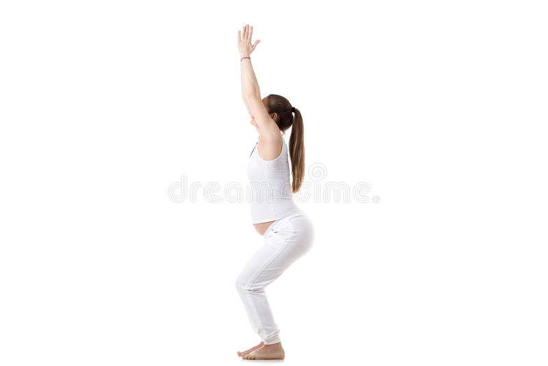 Prenatale Yoga, Utkatasana royalty-vrije stock fotografie