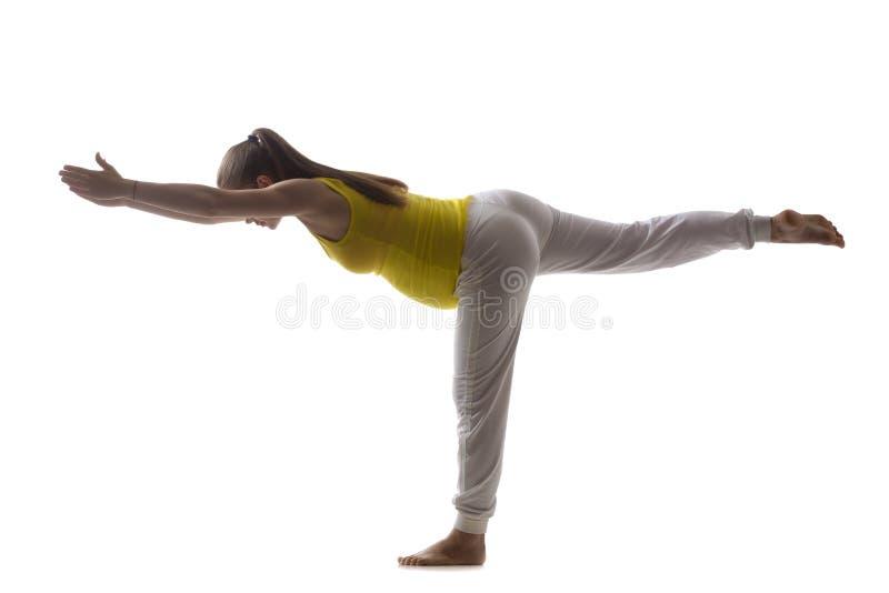 Prenatale Yoga, Virabhadrasana 3 royalty-vrije stock afbeelding