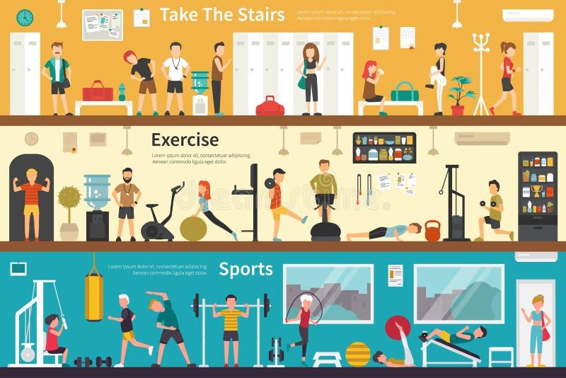 Prenda il web all'aperto pianamente interno di concetto di sport di esercizio delle scale illustrazione vettoriale