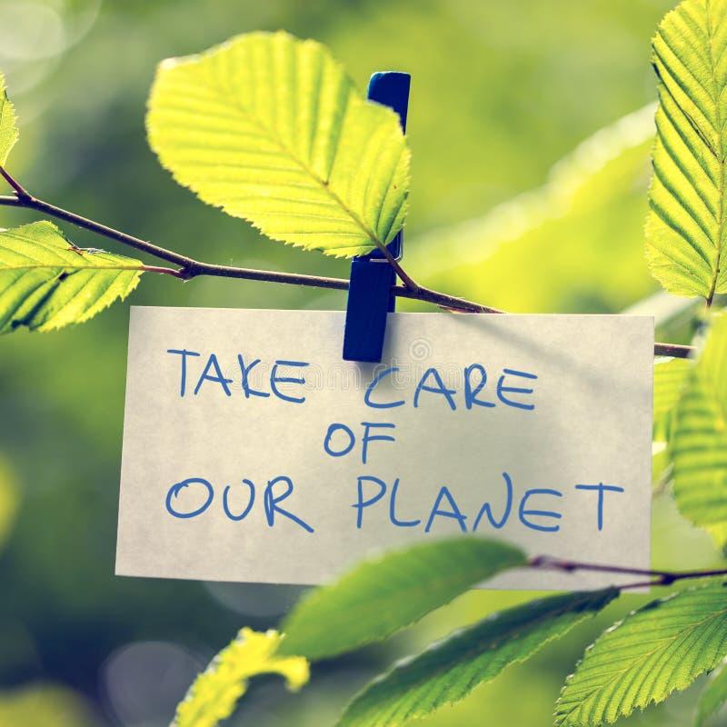 Prenda la cura del nostro pianeta fotografia stock libera da diritti