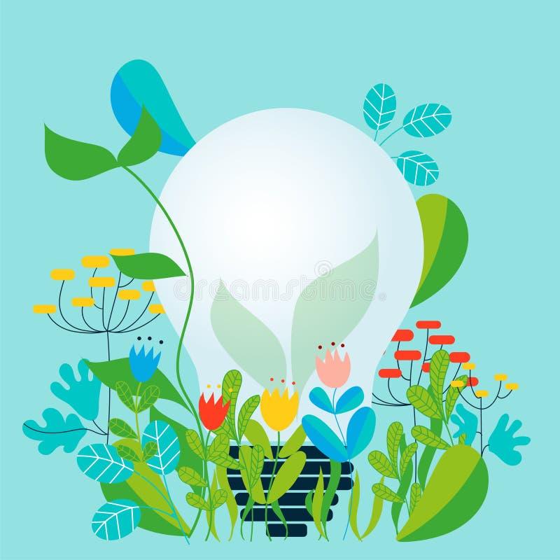 Prenda la cura dell'ambiente e della terra che amano il giardino e la natura illustrazione vettoriale