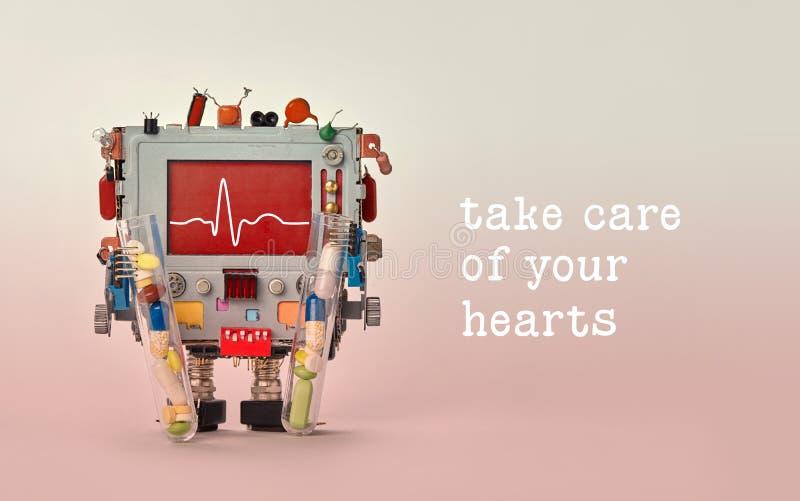 Prenda la cura della vostra citazione dei cuori Linea di battito cardiaco del monitor del cardiogramma dell'erba medica sul cardi fotografia stock libera da diritti