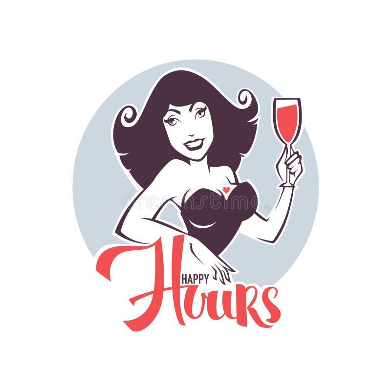 Prenda la vostra bevanda e goda dei nostri happy hour! royalty illustrazione gratis