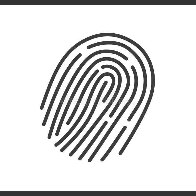 Prende le impronte digitali all'icona lineare Illustrazione al tratto sottile Disegno di profilo isolato vettore illustrazione di stock