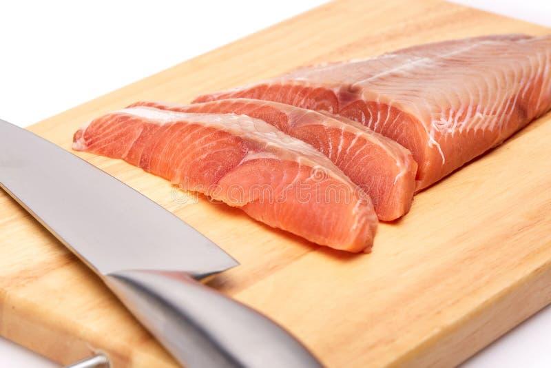 Prendedero crudo fresco de salmones fotografía de archivo