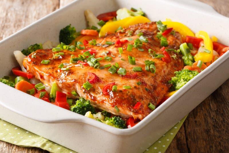 Prendedero de color salmón cocido comida de la dieta sana con las verduras y el primer de las hierbas en un plato que cuece horiz imagen de archivo libre de regalías
