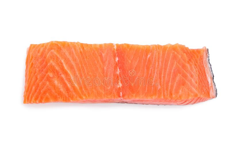 Prendedero de color salmón rojo de los pescados aislado en el fondo blanco Visión superior Endecha plana imágenes de archivo libres de regalías