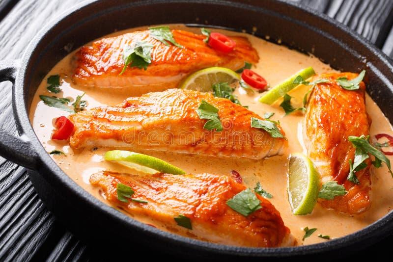 Prendedero de color salm?n blando en curry tailand?s picante del coco con la cal y el primer de las hierbas en una cacerola horiz imágenes de archivo libres de regalías