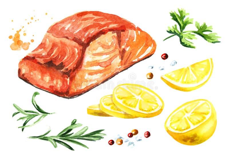 Prendedero de pescados de color salmón asado a la parrilla delicioso con el sistema del limón, del romero y de los spicies ejempl ilustración del vector