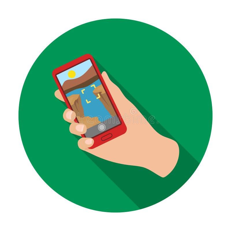 Prendendo foto sull'icona dello Smart Phone nello stile piano isolata su fondo bianco Vettore delle azione di simbolo di stile de illustrazione di stock
