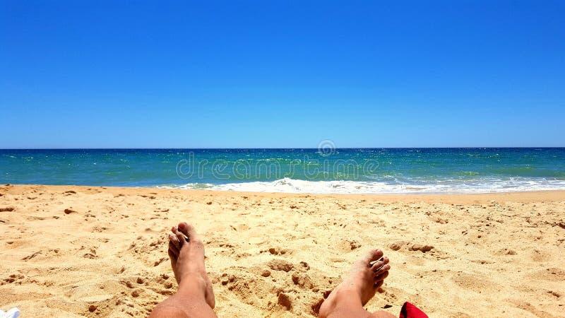Prendendo il sole sulla spiaggia di sabbia vicino al mare fotografia stock