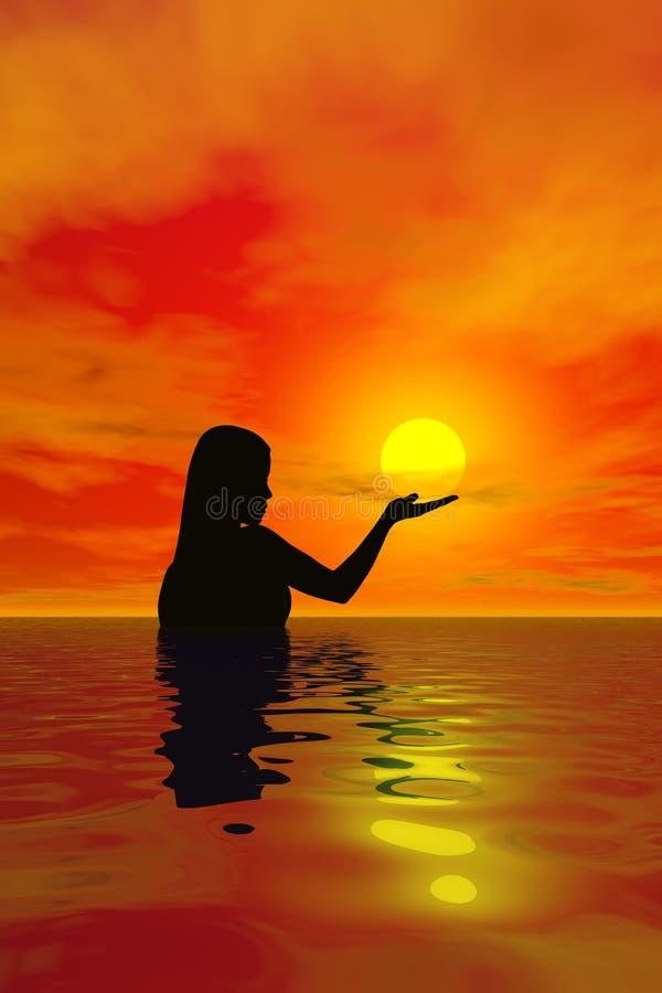 Prendendo o Sun ilustração do vetor