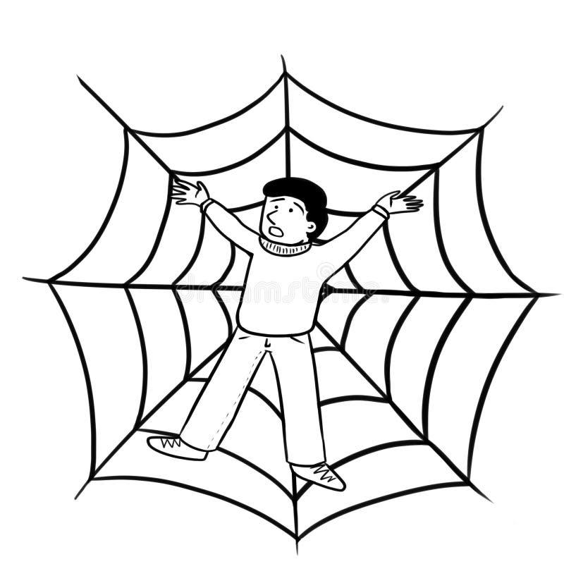 Prendido na Web de aranha ilustração do vetor