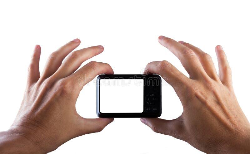 Prendre la photo avec l'appareil-photo, appareil-photo avec le chemin de coupure pour l'écran image stock