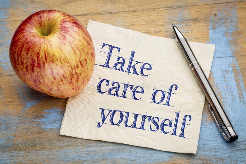 Prenez à soin de vous-même le conseil image stock