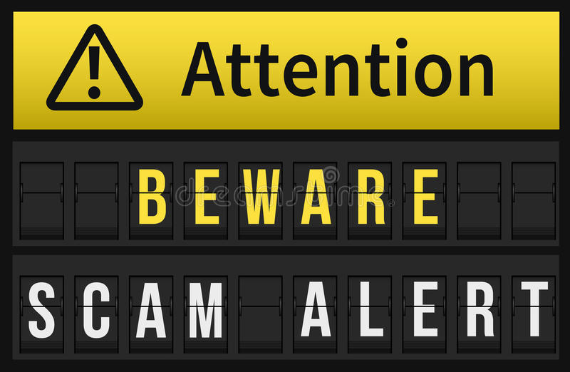 Prenez garde du message vigilant de Scam photo libre de droits