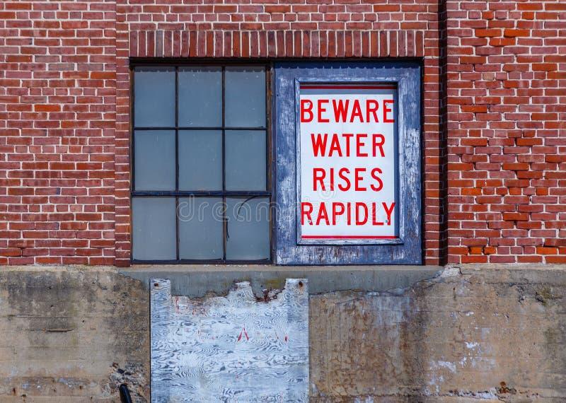Prenez garde du signe de sécurité de l'eau image libre de droits