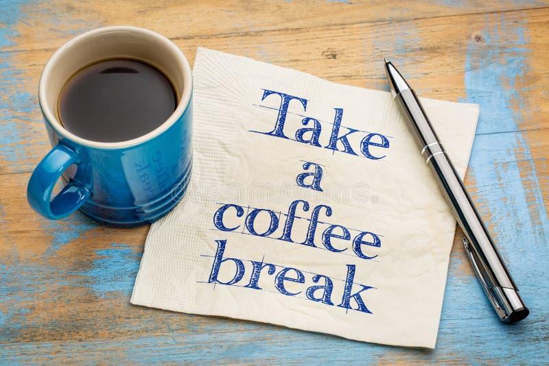 Prenez un concept de serviette de pause-café images stock