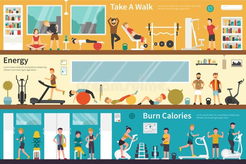 Prenez un Web extérieur à plat intérieur de concept de calories de brûlure d'énergie de promenade illustration libre de droits