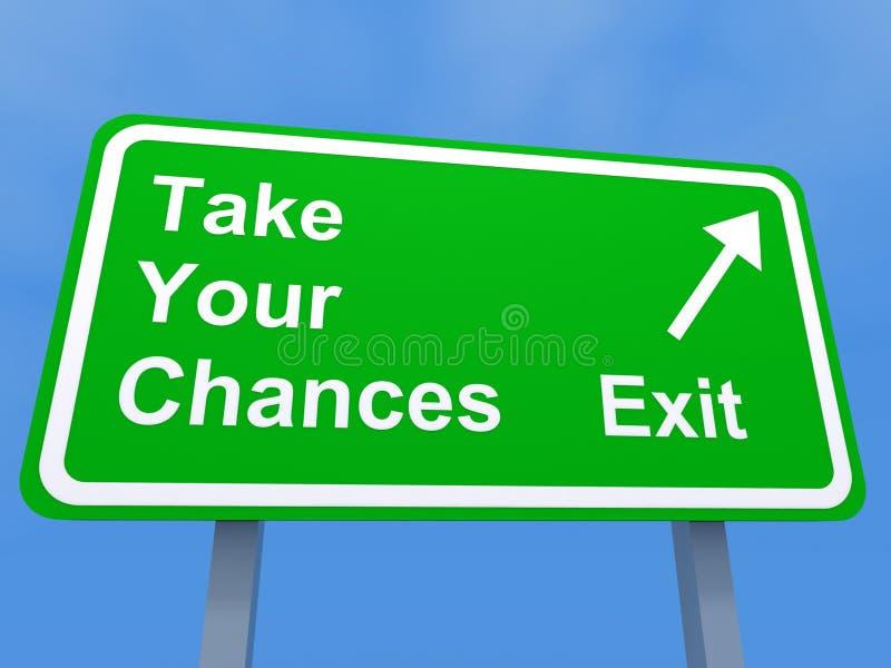 Prenez votre signe de sortie de chances illustration stock
