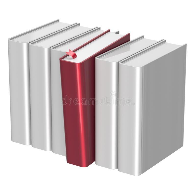 Prenota lo spazio in bianco rosso di selezione bianco di fila una dello scaffale per libri selezionato royalty illustrazione gratis