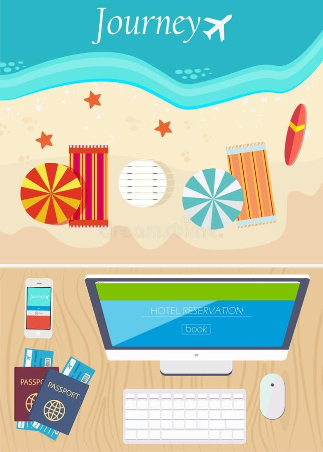 Prenotazione dell'hotel e concetto online di viaggio Vettore illustrazione di stock