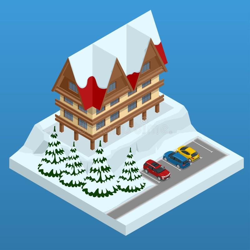 Prenotazione di hotel online Stazione sciistica della montagna con neve nell'inverno Progettazione dell'insegna di web di vacanza royalty illustrazione gratis