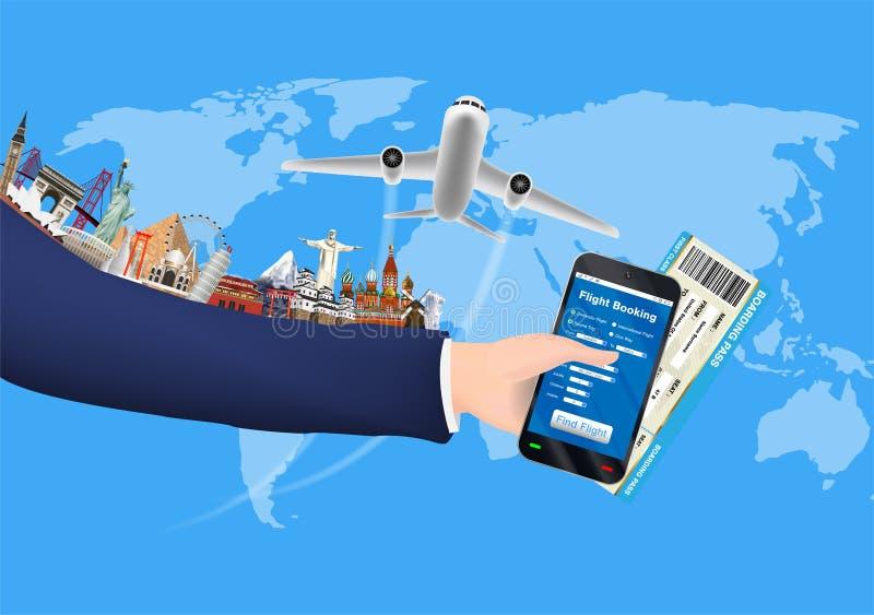 Prenotazione online di Smartphone con il punto di riferimento del mondo royalty illustrazione gratis