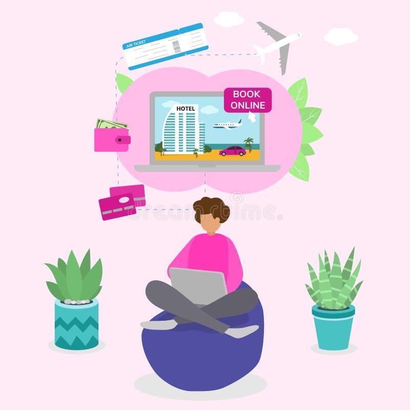 Prenotazione online di una ragazza, pagamento di un biglietto di viaggio, illustrazione vettoriale della prenotazione dell'hotel royalty illustrazione gratis