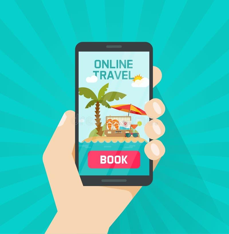 Prenotazione online di viaggio via l'illustrazione di vettore dello smartphone, concetto o viaggio online o bottone del libro di  illustrazione vettoriale
